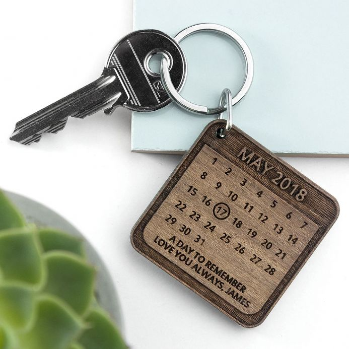 Personalised A Day To Remember Square Wooden Keyring | Personalised Gifts | The Present Season